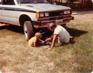 joe helping dad Jan 82 truck